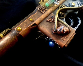 STEAMPUNK, steampunk gun, steampunk nerf type Luger gun, metallic colours, cosplay or display, made to order, working light