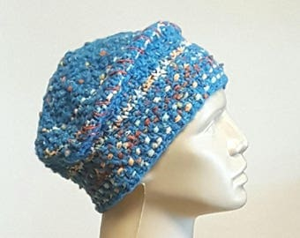 Turquoise Blue Hand Knit Hat with Side Welt