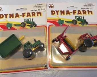 Two total Dyna-Farm Die-Cast metal Farming Vehicles ©1995 1:64 scale New unopened package