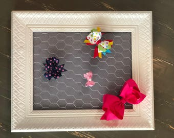Bow Holder, Baby Shower Gift, Ornate Frame with Chicken Wire