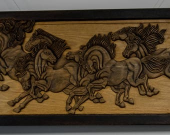 Horses Woodcarved home decor Wooden wall panel Woodcarving wall Art relief picture 3D wooden sign Anniversary gift Wooden decoration Horses