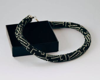 Patterned Rope Crochet Necklace | Silver and Black