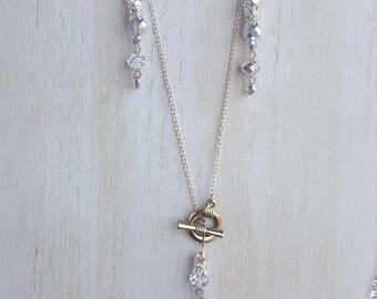 Custom handmade crystal/bead necklace w/matching earings