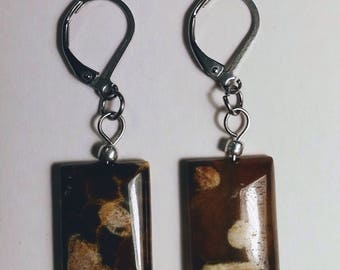 Earrings with rectangular agate stones.