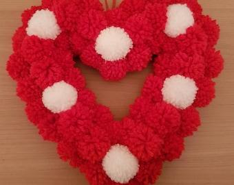 Heart wall decoration/pom pom love heart/red love heart/wreath wall art/gift ideas/wall decoration