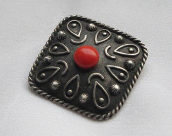 Vintage German square 835 silver brooch or pin with a ceramic red stone in the centre 1950s