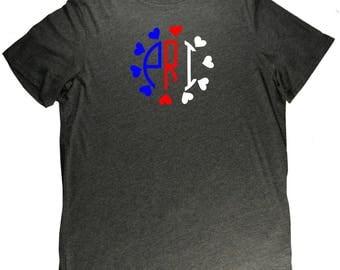 Puerto Rico Monogram PRI Flag Boricua Pride T Shirt