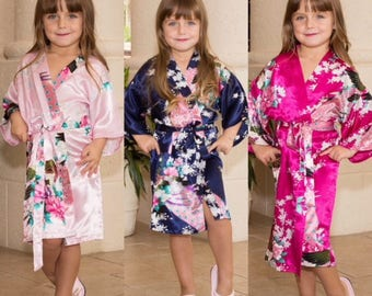 Mini Floral Robes, Flower Girl Floral Robe, Flower Girl Gift, Gift Junior Bridesmaid Robes, Bridesmaids Gifts, Kids Robe, Bridal Party Robes