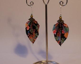 Origami leaf earrings