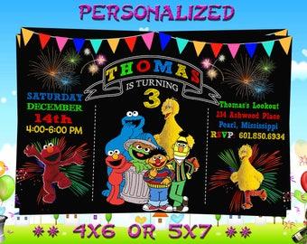 Sesame Street Invitation, Sesame Street Birthday Invitation, Sesame Street, Sesame Street Birthday Card - Printable Digital File