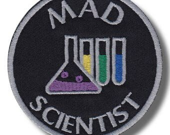 Mad scientist variation 2 - embroidered patch, 8x8 cm