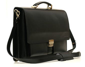 Black Leather Briefcase Leather Laptop Bag Leather Business Bag  Crossbody Bag Real Leather Bag Leather Cabin Bag Leather Messenger Bag