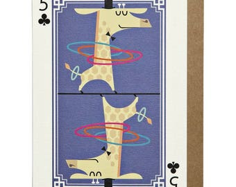 5 of Clubs Giraffe A6 Greeting Card