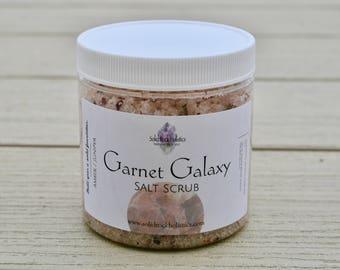 Garnet Galaxy Salt Scrub, herbs, natural beauty, scrub