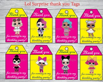 INSTANT DOWNLOAD- Lol Surprise thank you tags,Lol Surprise party, Lol Surprise birthday