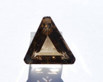 Smoky Quartz, Transparent Golden Gray Faceted Triangle, Clean, 30 x 30mm, 62.7ct, C3339