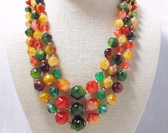 60's Vintage 3 Strand Lucite Beaded Necklace