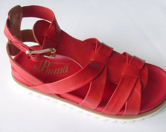 Genuine leather women's handmade sandals