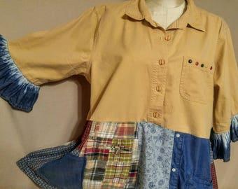 upcycled, boho, refashioned casual funky tunic. XL, 1X