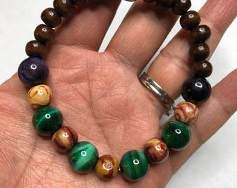 Green Stone Bracelet, Beaded Bracelet, Mens Bohemian Bracelet, Boho Bracelet, Green Bracelet, Gemstone Bracelet, Valentines Day Gift For Him