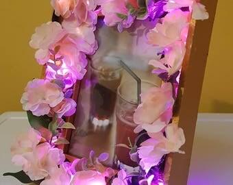 Valentine gift / home decor / gift -- copper floral LED frame -- Cherry Blossom -- Boho -- Romantic -- Rustic --Botanical - bedroom
