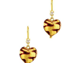 CHERRY - Sterling Silver Murano Glass Heart Shaped Earrings