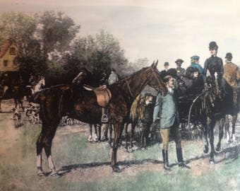 A Meet at Bleak House Fox Hunting hand colored print