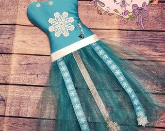 Frozen themed Tutu BowHolder/Anna/Snowflakes/Blue/Bow Holder/Tulle Bow Holder/