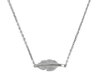Sterling Silver Feather Necklace, 925 Sterling Silver.  Free gift  box