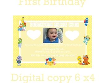 Sesame Street 1st Birthday Invitation ***DIGITAL COPY***