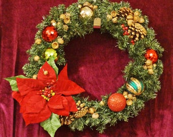 "Priced at 15 % off original price - Christmas  18"" Imitation Pine Wreath - Bursting with Spirit with a Red Poinsettia, Acorns & Pinecones"