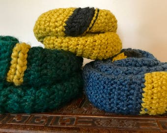 Blue scarf with grey and yellow edge