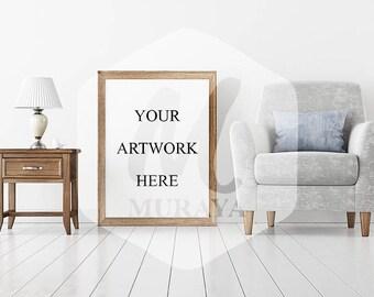 Modern Frame Mockup, Wood Frame Mockup, Styled Stock Photograpy, Scandinavian Style Interior, PSD Mockup, Digital Item, Modern Design