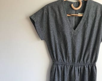 Vintage Grey Wool Dress with V Neck Calve Length