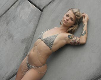 Pixie Chainkini - Adjustable stainless steel chainmail bikini with body chain accent