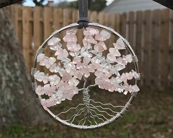 Rose Quartz & Quartz Crystal Gemstone Tree of Life Sun catcher