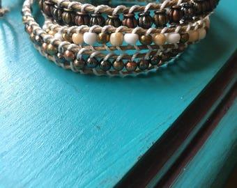 Bracelet, Macrame, Jewlrey, charm bracelet, 3 wrap bracelet, Bronze, travel/journey