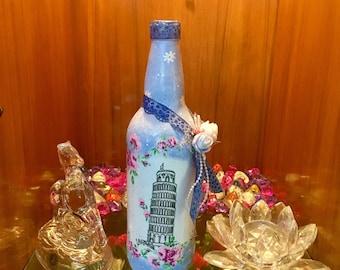 Beautiful decorated glass bottle