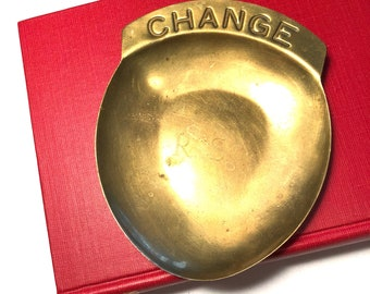 Vintage brass change dish, brass pocket change, brass trinket dish