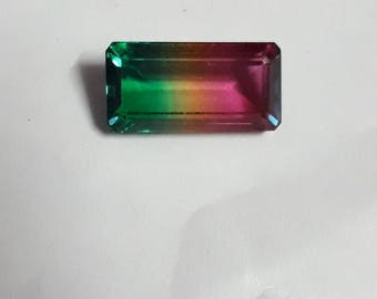 Top quality watermelon quartz 10x20 octagon mirror  finish & well cut weight approx 10 cts