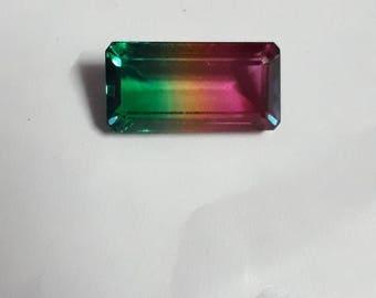 Top quality watermelon quartz 10x20 octagon mirror  finish & well cut weight approx 10 cts