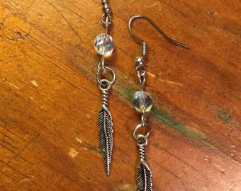 Clear Bead Feather Earrings