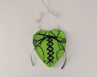 Corset Laced Frankenstein Heart Ornament