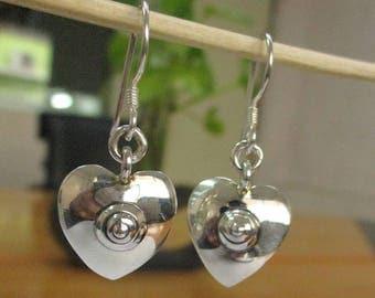 Sterling 925 Silver Beautiful Heart Earring - Ethnic Silver Earring - Valentine Gift Earring -Dainty Tribal Earring - Boho Earring-PCE40
