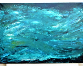 """Abstract painting-art-acrylic on canvas """"green Thunderstorm/Green Storm"""""""