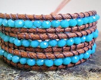 Sparkling Blue/Turquoise Wrap Bracelet