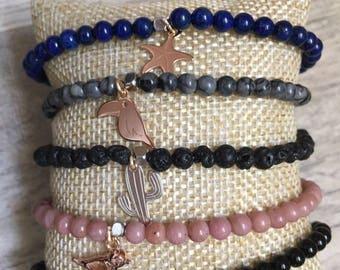 Customizable natural stone silver bracelet