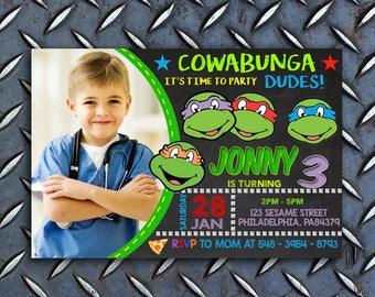 Teenage Mutant Ninja Turtle Invitations, TMNT Invitation, TMNT Birthday Invite, TMNT Birthday, Ninja Turtle Invitation With Photo, Ninja