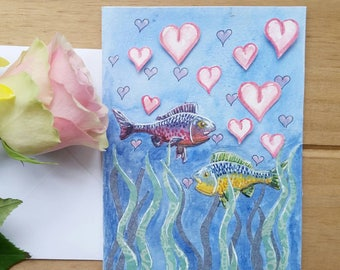 Fish love card, two fishes blowing heart bubbles, greeting card, anniversary card, fish love