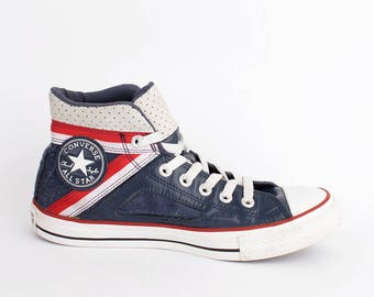 EU 39.5 - blue perforated leather Converse All Star - hi top Chuckies size uk 6.5 / US men 6.5 + womens 8.5 - baseball sneakers chuck taylor
